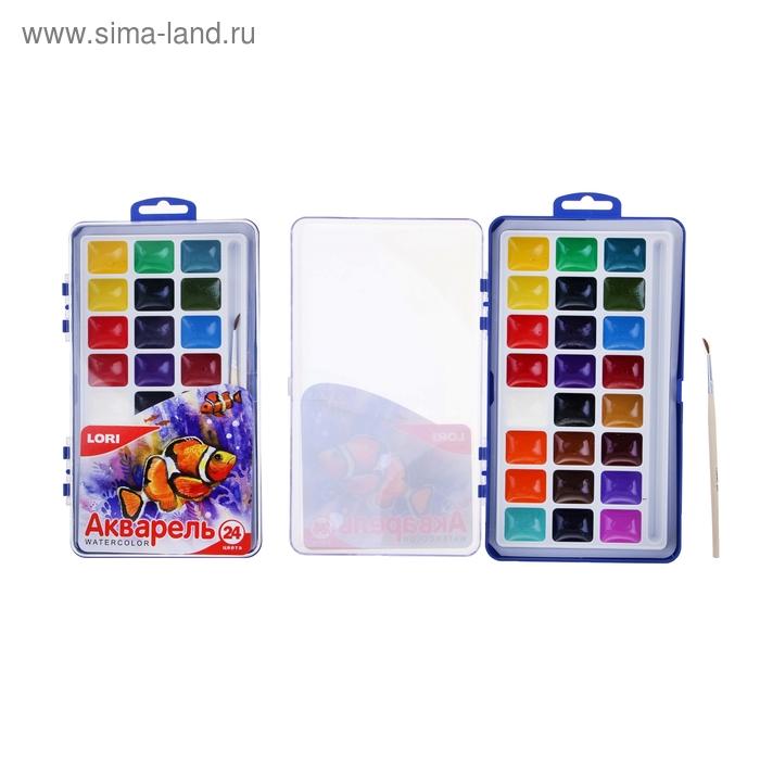 Акварель Lori (большая), 24 цвета, в пластиковой коробке, с кистью
