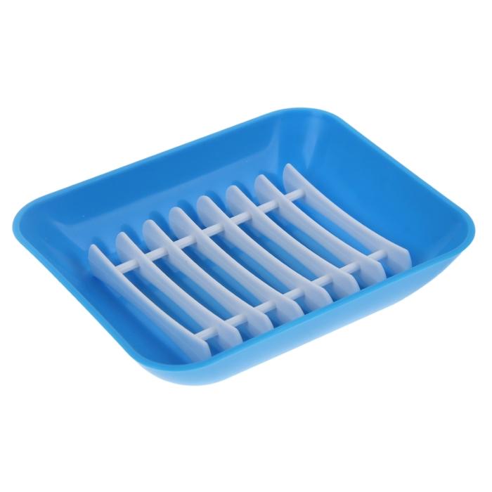 Мыльница с решёткой Breeze, 11,5×9,5×2,5 см, цвет голубая лагуна