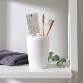 Подставка для зубных щёток Aqua, цвет снежно-белый Ош