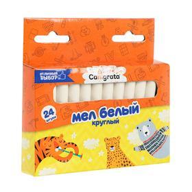 Мел школьный белый, набор 24 штуки круглый беспыльный, в картонной коробке