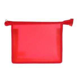 Папка пластиковая А5, молния сверху, «Офис», цветная, текстура поверхности «песок», ПМ-А5-00, красная Ош