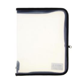 Папка пластиковая А5, молния вокруг, прозрачная, «Офис», ПМ-А5-01, чёрная Ош