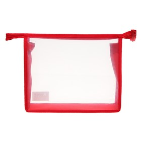 Папка пластиковая А5, молния сверху, прозрачная, «Офис», ПМ-А5-00, красная Ош