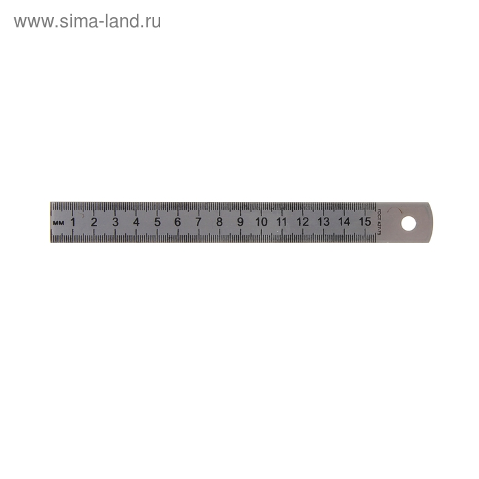 Линейка стальная (пружинистая нержавеющая) 15 см, в пакете