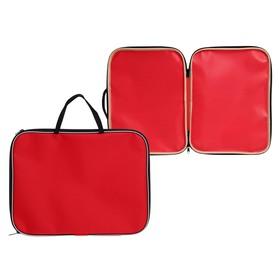 Папка с ручками текстиль А4 20 мм, 350*270 мм, офис, нейлон 600D, двуцветный кант, красная Ош