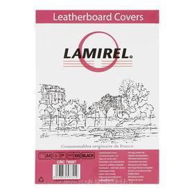 Обложки 100 шт. Lamirel Delta A4, картонные, с тиснением под кожу, цвет: черный, 230 г/м