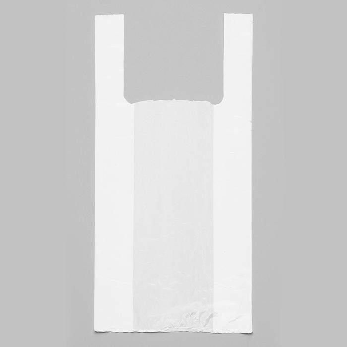 """Пакет """"Белый"""", полиэтиленовый, майка, 28 х 50 см, 12 мкм"""