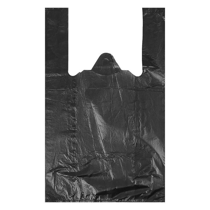 """Пакет """"Чёрный"""", полиэтиленовый, майка, 25 х 45 см, 9 мкм"""