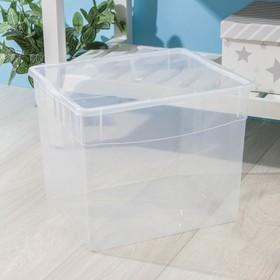 Ящик для хранения с крышкой «Кристалл», 34 л, 39×31×33 см, цвет МИКС