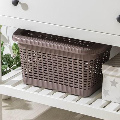 Корзина для хранения с крышкой econova, 20 л, 45×28×24 см, цвет МИКС