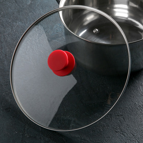 Крышка для сковороды и кастрюли стеклянная , d=28 см, ручка силиконовая МИКС