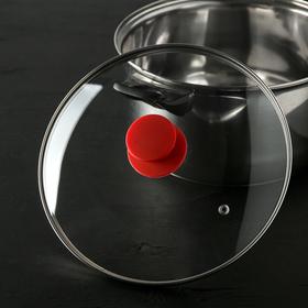 Крышка для сковороды и кастрюли стеклянная , d=24 см, ручка силиконовая МИКС