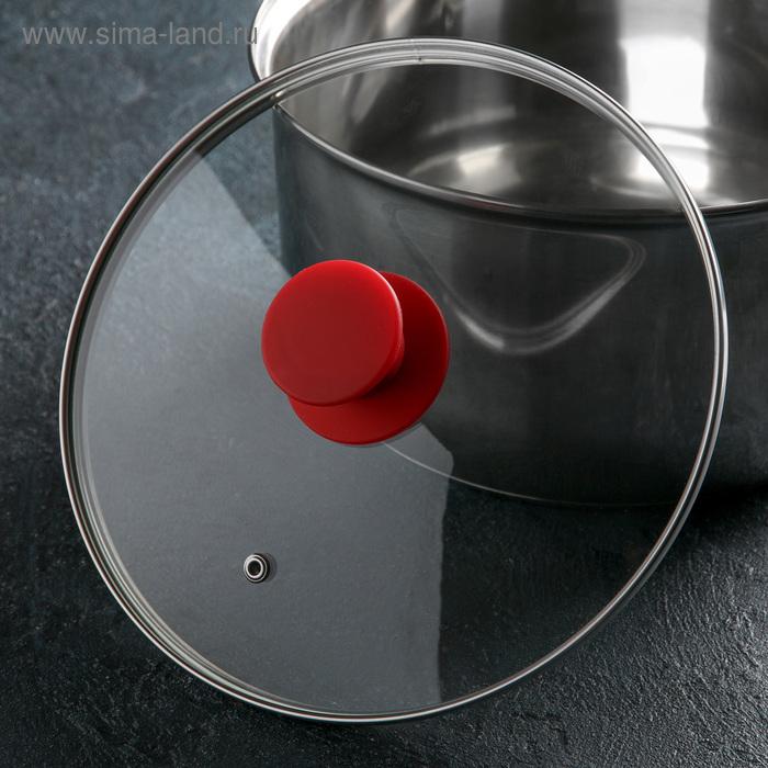 Крышка стеклянная d=22 см Silk, ручка силиконовая МИКС