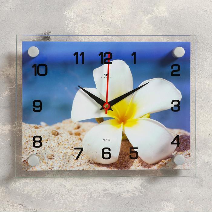 Часы настенные, серия Цветы, Плюмерия на песке, 20х26 см, микс