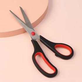 Ножницы универсальные, скошенное лезвие, 22 см, цвет чёрный/красный Ош