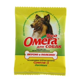 Мультивитаминное лакомство Омега Neo для собак, с биотином, саше 15 табл. Ош