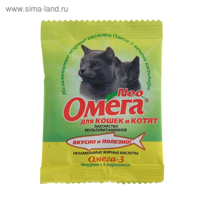 Лакомство Омега Neo для кошек и котят, таурин/L-каринтин, саше 15 табл.