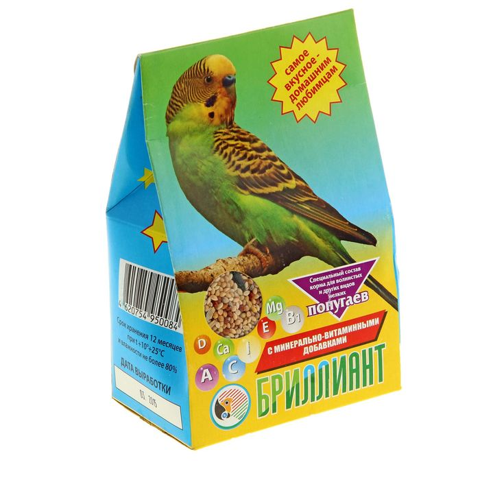 Корм Бриллиант для попугаев, с растительно-минеральными добавками, 400 г