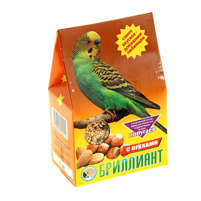 Корм Бриллиант для попугаев, с орехами, 400 г