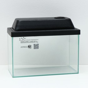 Аквариум прямоугольный с крышкой, 10 литров, 32 x 15 x 21/23,5 см, чёрный Ош