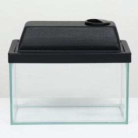 Аквариум прямоугольный с крышкой, 5 литров, 25 x 13 x 15,5/18 см, чёрный Ош