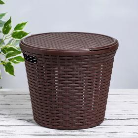 Корзина для белья с крышкой «Ротанг», 15 л, 32×32×27 см, цвет коричневый