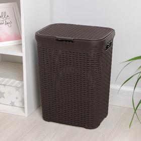 Корзина для белья с крышкой «Ротанг», 40 л, 37×29×48 см, цвет коричневый