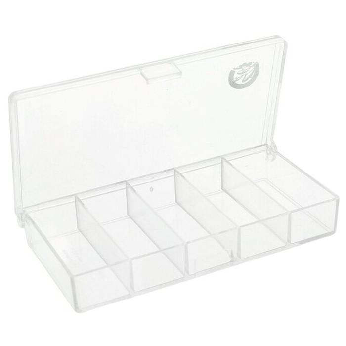 Коробочка СВ-01 прозрачная 5 отделений, размер 10*5*1,7 см