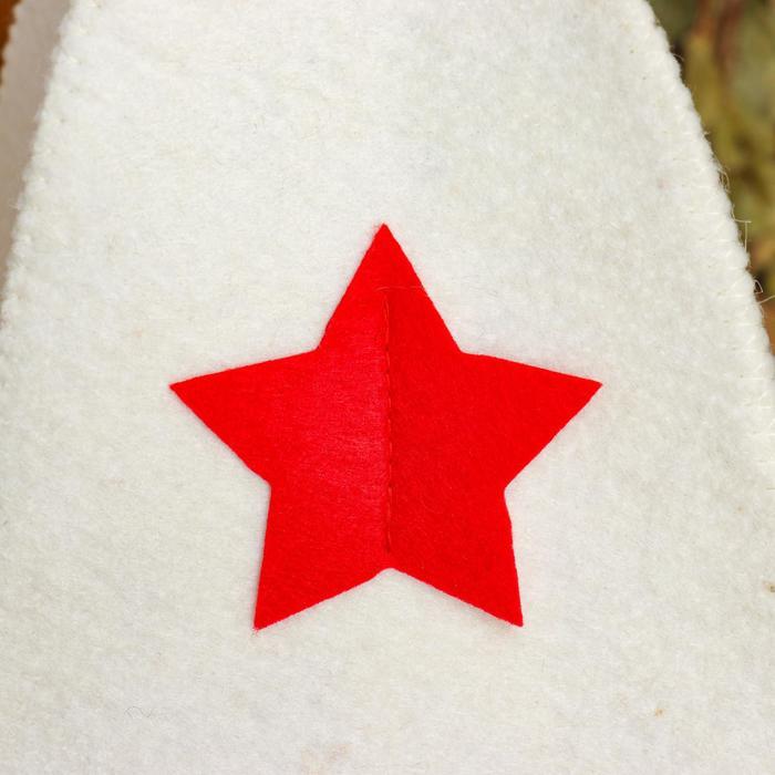 Шапка для бани со звездой войлок