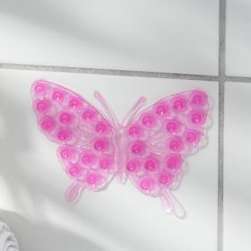 Мини-коврик для ванны «Ажурная бабочка», 9×11,5 см, цвет МИКС Ош