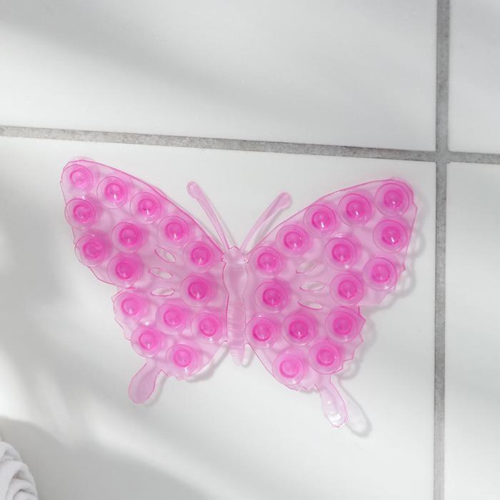 Мини-коврик для ванны «Ажурная бабочка», 9×12 см, цвет МИКС