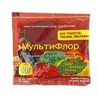 Сухое удобрение в хелатной форме МультиФлор для томатов,перцев,баклажанов 50 г.