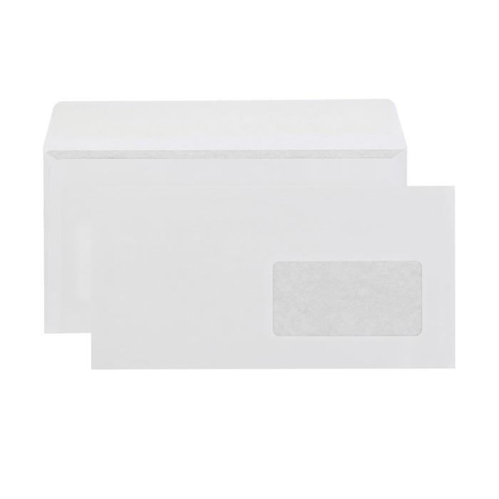 Конверт почтовый Е65 110х220 мм, чистый, правое окно 45х90мм, силиконовая лента, 80 г/м², в упаковке 1000 шт.