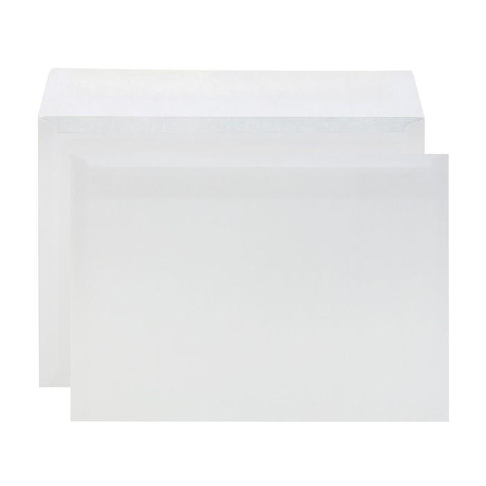 Конверт почтовый С4 229 х 324 мм, чистый, без окна, клей, без внутренней запечатки, 90 г/м², в упаковке 500 штук, клапан четырехугольный (трапеция)
