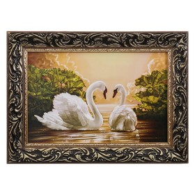 Картина 'Пара лебедей' рамка микс Ош