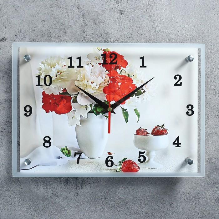 "Часы настенные прямоугольные ""Цветы в вазе"", 25х35 см"