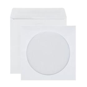 Конверт почтовый для CD/DVD 125х125 мм, чистый, окно д=100, клей, 80 г/м², в упаковке 1000 шт. Ош