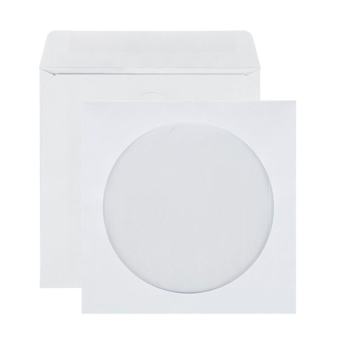 Конверт почтовый для CD/DVD 125х125 мм, чистый, окно д=100, клей, 80 г/м², в упаковке 1000 шт.