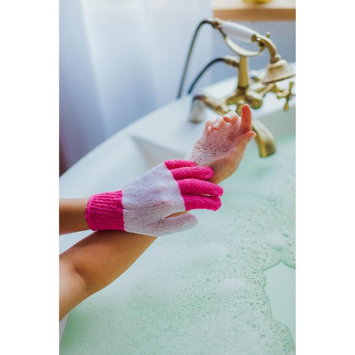 Мочалка-перчатка массажная Доляна, 14×18 см, полосатая, цвет МИКС