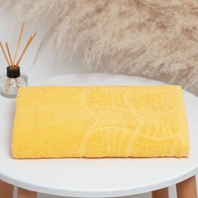 "Полотенце махровое банное ""Волна"", размер 70х130 см, 300 г/м2, цвет жёлтый"