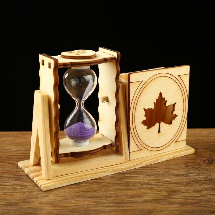 Часы песочные Кленовый лист с карандашницей, 10х13 см, микс