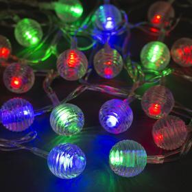 """Гирлянда """"Нить"""" 5 м с насадками """"Шарики льда"""", IP20, прозрачная нить, 20 LED, свечение мульти, мигание, 220 В"""