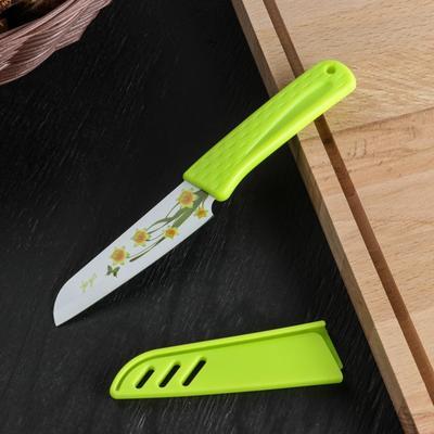 Нож кухонный «Краски», лезвие 8,5 см, антиналипающее покрытие, с чехлом, цвет МИКС