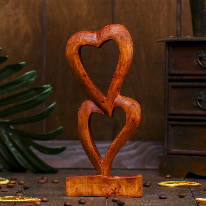 Сувенир Два сердечка тёмный