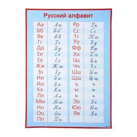 """Плакат обучающий """"Русский алфавит, прописные и печатные буквы"""" А2"""