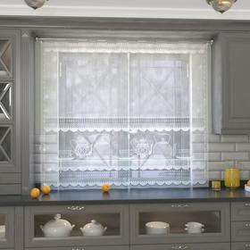 Штора кухонная 163х170 см, белый, 100% п/э, без шторной ленты Ош