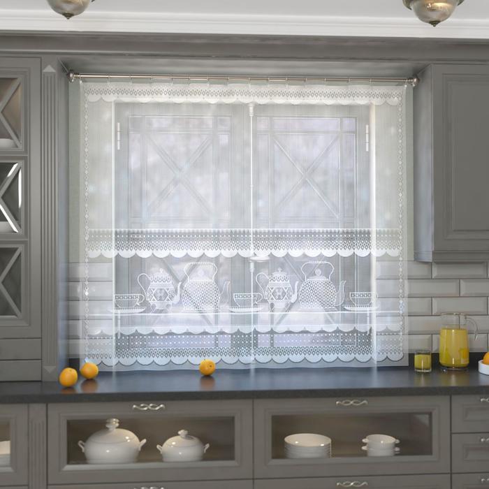 Штора кухонная 163х170 см, белый, 100 пэ, без шторной ленты
