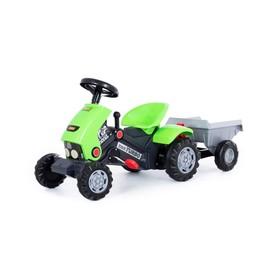 Педальная машина для детей «Turbo-2», с полуприцепом Ош