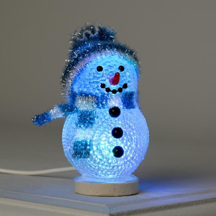 """Фигура акрил. """"Снеговичок в синем"""" 10х6 см, 1 LED, USB"""