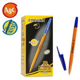 Ручка шариковая Carioca Corvina 51, 1.0 мм, жёлтый корпус, стержень синий
